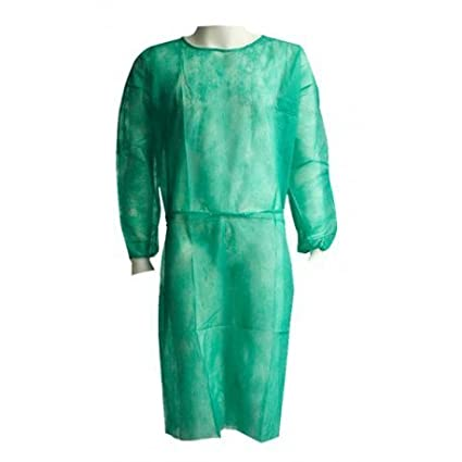 Bata hospitalaria desechable verde con puño elástico de algodón. Caja 100 uds