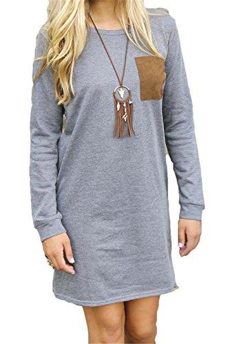 Blansdi Damen Mädchen Frauen Herbst Winter Beiläufig lösen Langarmshirt Pullover Flicken Lose T-Shirt Tops Hemd Bluse Oberteil Oversized Sweatshirt Minikleid