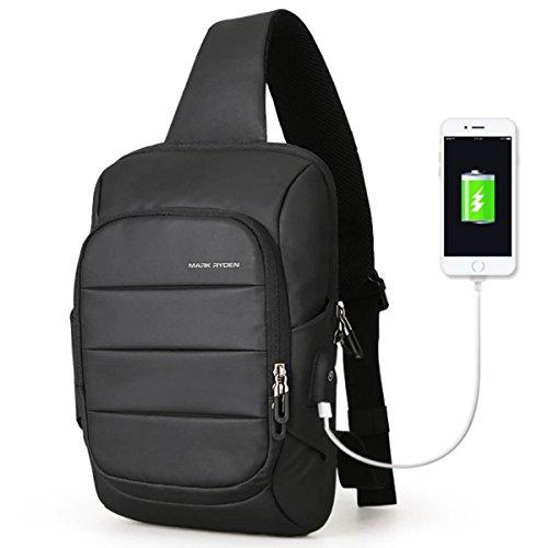 Bag Lux Black (Mark Ryden Lux Series Water-Resistant Cross Shoulder Bag + USB Charging Port)