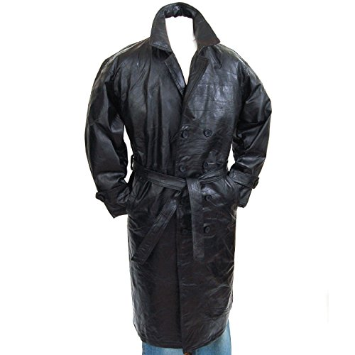 Mens Genuine Leather Double Breasted Trench Coat Full Length Blazer Black ()