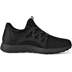 Feetmat Womens Sneakers Ultra Lightweight Breathable Mesh Athletic Walking Running Shoes Black 10