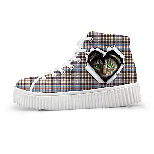 Kramar Idé Klassiska Tillfälliga Pläd Skor Plattform Sneakers Katt 2