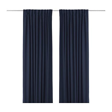 Ikea Werna Blackout Curtains 1 Pair Dark Blue 145x300 Cm