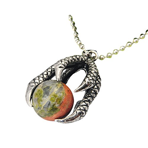 JoyaGift Dragon Claw Holding Natural Gemstone Crystal Ball Pendant Necklace for Women Men