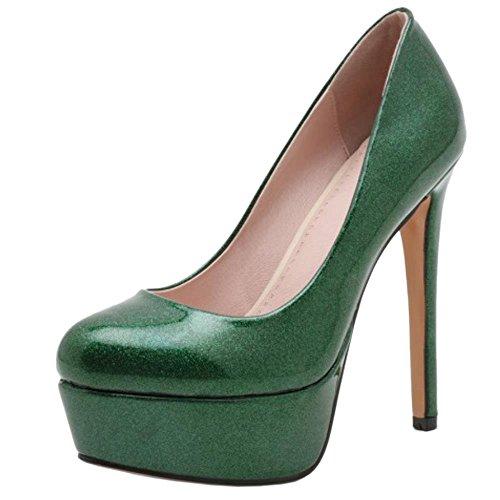 Party Heels COOLCEPT Pumps Fashion For High Glitter Green Women Shoes Stiletto xwqzqAOI