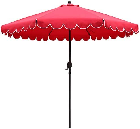 ABBLE 9 Ft Round Scallop Outdoor Patio Umbrella