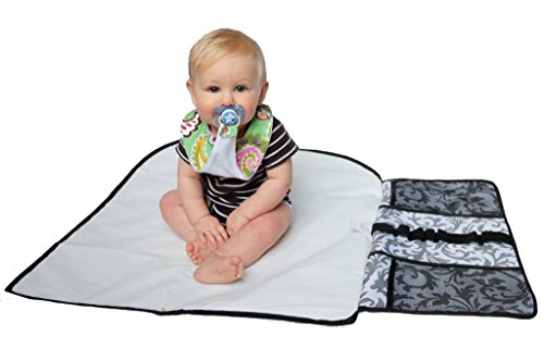 Portable Baby Changing Pad / Diapering Station | Fleur De Lis Gray Pattern Fleur De Lis Station