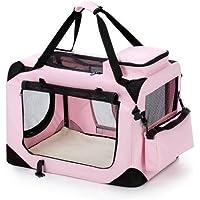 Portable Foldable Soft Dog Crate-Medium-Pink Dog Carrier Bag