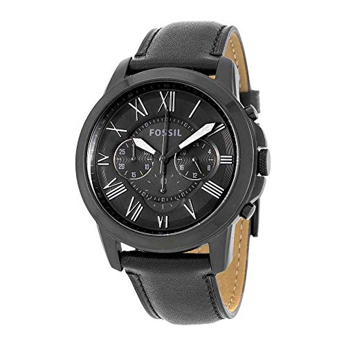 Fossil Mens Chronograph - Fossil Men's Grant Quartz Stainless Steel and Leather Chronograph Watch, Color: Black (Model: FS5132)