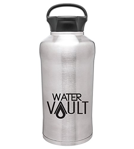 WaterVault Growler and 64 oz Water Bottle - Double Insulated Stainless Steel Thermos, Keep Hot 12 Hours, Carbonated and Cold 24 Hours, with Loop Handle
