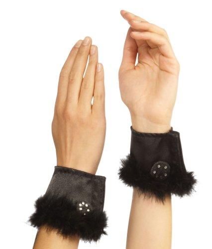 Rubie's Bunny Cuffs With Marabou Trim, Black, One Size ()