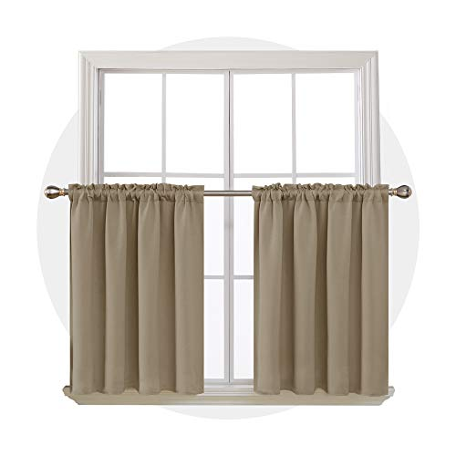 Khaki Short Curtains Thermal Insulated Rod Pocket Room Darkening Curtain Valances for Small Window 42W x 36L Inch 2 Panels