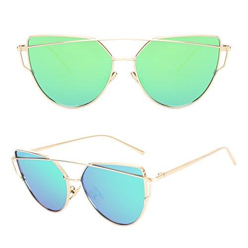 de de Dorado de Verde mujer CGID sol gato para Polarizadas moda Gafas MJ74 UV400 A ojo Espejo gCqqw8A
