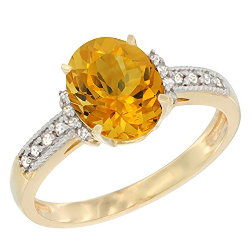 14k Yellow Gold Citrine Ring - 14K Yellow Gold Natural Citrine Ring Oval 9x7 mm Diamond Accent, size 7.5