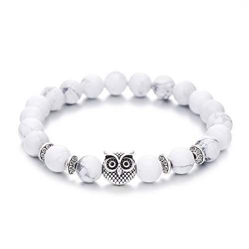 Zhepin Owl Bracelet Mala Beads Spiritual Energy Beaded Bracelet For Women Men (Owl Beads Bracelet)