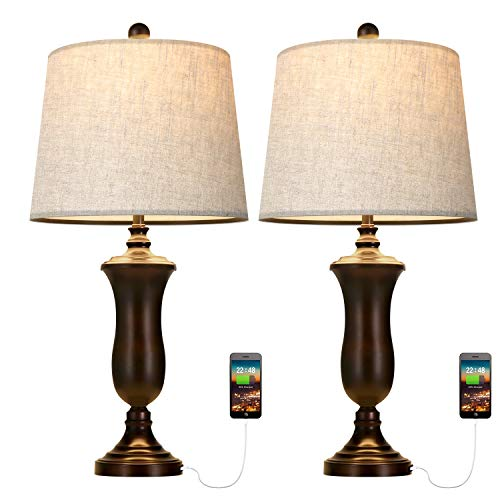 Oneach Modern Table Lamps Set of 2 with USB Port for Living Room Bedroom 25″ Night Light Lamp with Fabric Drum Shade Brown