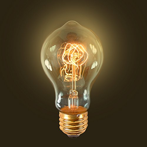 [Edison Antique Replica Light Bulb Amber Globe Base 60W E26 BF005] (60w Reveal Globe)