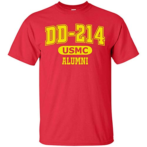 OP Quality TShirts DD-214 Alumni Red and Gold T Shirt for Proud, Brave USMC Veterans (Red,Medium) (Tee Alumni)