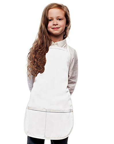 My Little Doc White Kids Art Smock, Apron, Extra Large, Poly/Cotton Twill Fabric