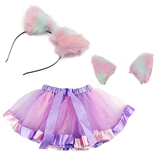 Purple Faux Fur Cat Ears Headband with Women's, Teen, Adult Classic Elastic Tulle Tutu Skirt Set