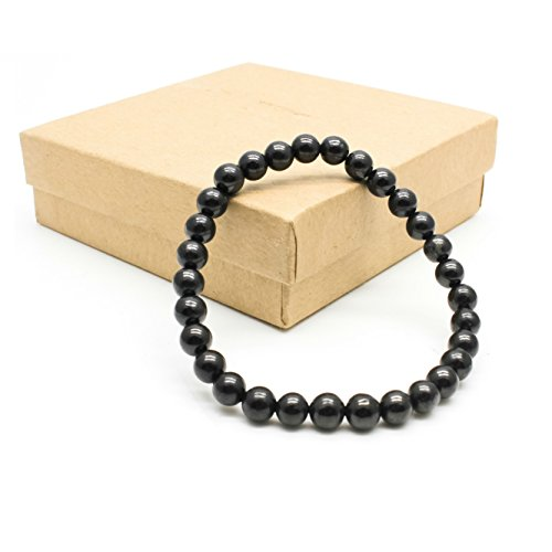 Karelian Heritage Adjustable Bracelet with Authentic Shungite, Protection Bracelet from Russia (6 mm Round Beads) SB20
