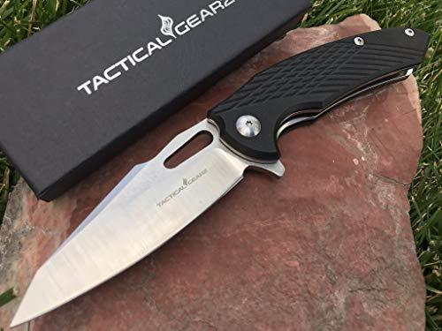 TG Hex, Premium EDC Folding Knife w/Sheath! Polished D2 Steel Blade! Textured G10 Handle! Ball Bearing Pivot System! (Black) ()