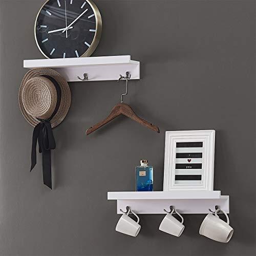 "O&K Furniture 18.9"" Length Wall Mounted Floating Shelf with Dual Hooks, Entryway Coat Rack with Shelf, White, Set of 2"