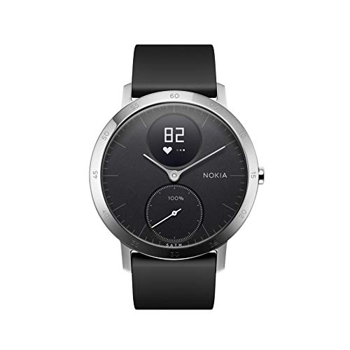 Nokia | Steel HR Hybrid Smartwatch - Activity Tracker, Heart Rate Monitor, Sleep Monitor, Water Resistant Smart Watch - Black Silicone Band (Silver/Black, (Nokia Bluetooth)