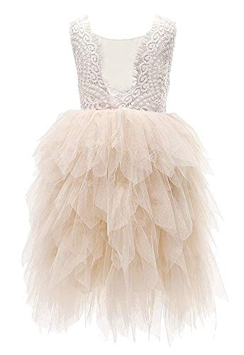 Topmaker Backless A-line Lace Back Flower Girl Dress (4T, ()