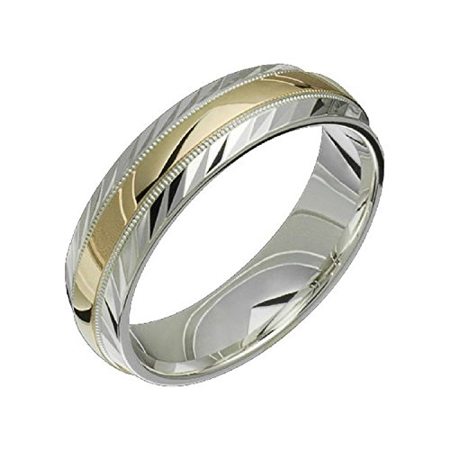 Alain Raphael 2 Tone Sterling Silver and 10k Yellow Gold 6 Millimeters Wide Wedding Band ()