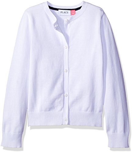The Children's Place Girls' Little Uniform Cardigan Sweater, White 44422, Small/5/6