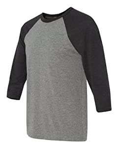 C3200 Bella + Canvas Unisex 3/4-Sleeve Blended Baseball Tee - Grey/ Charcoal Black Triblend - Small Color: GRY/CHAR-BLK TRI Size: Small, Model: C3200