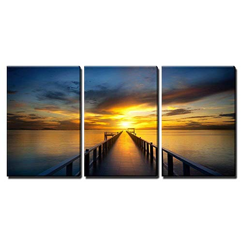 wall26 - 3 Piece Canvas Wall Art - Bridge into The Sea at Sunset - Modern Home Decor Stretched and Framed Ready to Hang - 24