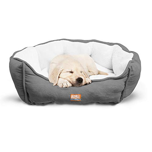 "Animal Planet Round Plush Micro Suede & Sherpa Bolster Pet Bed for Dogs & Cats, Puppies, and Small & Toy Breeds; Cuddly and Warm for Burrowing and Snuggling, Easy-to-Clean 24""x 17""x 9"" Gray For Sale"