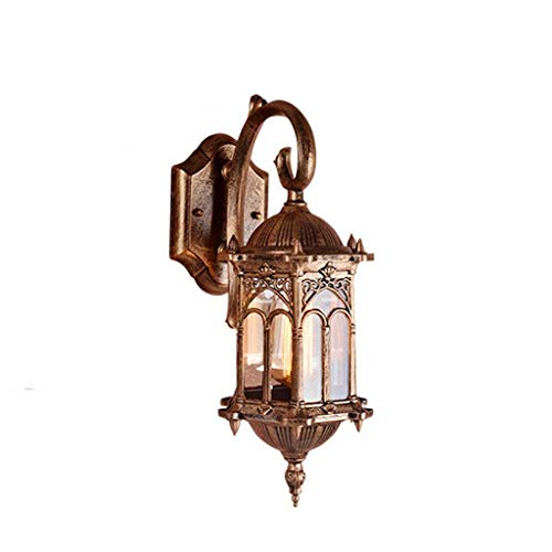 SLKZMD Classical Traditional Aluminum Glass Wall Lights European Villa Garden Outdoor Waterproof Wall Lamps Vintage Copper Rustic Exterior Wall Sconces Lanterns
