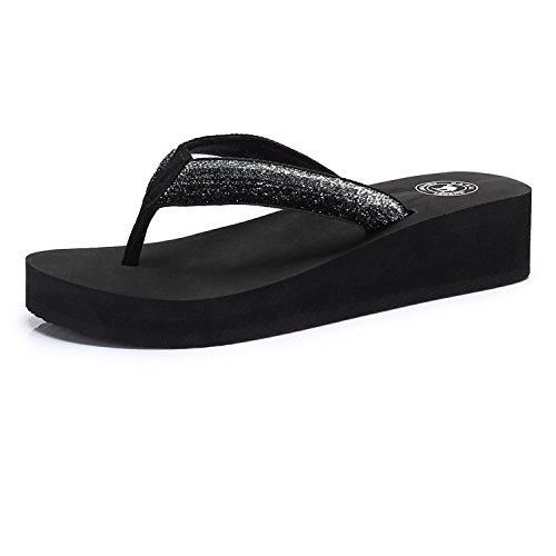 Camel Women's Slim Flip Flop Fashion Wedge Sandals Arch Support Thong Beach ()