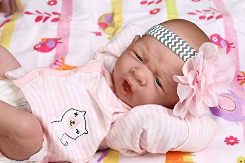 "Precious Reborn Baby Girl Doll 14"" inches Preemie La Newborn w/ Beautiful Accessories Anatomically Correct Washable Berenguer Real Realistic Soft Vinyl Alive Life Like Pacifier"