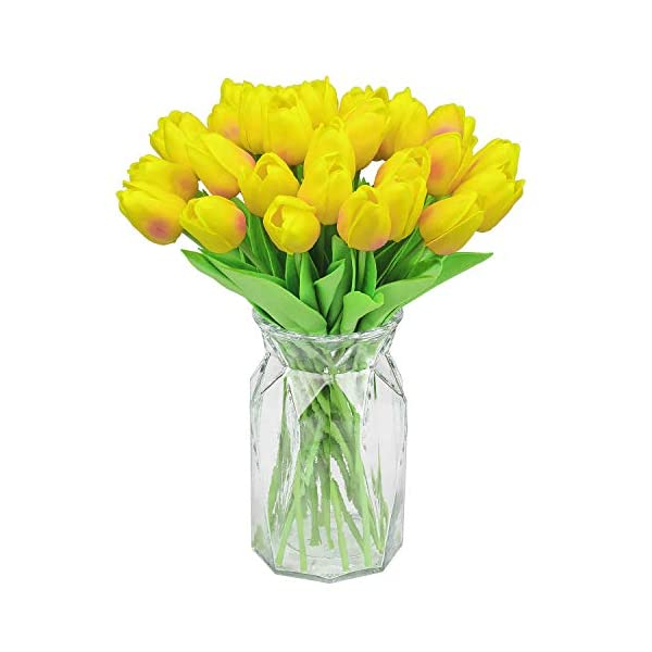 GPARK 30Pcs Artificial Tulip Fake Flowers Plants 13.3″ for Wedding Party Home Garden Kitchen Office Party Decor Outdoor Greenery Wedding Wall Decoration (Yellow) (No Vase)