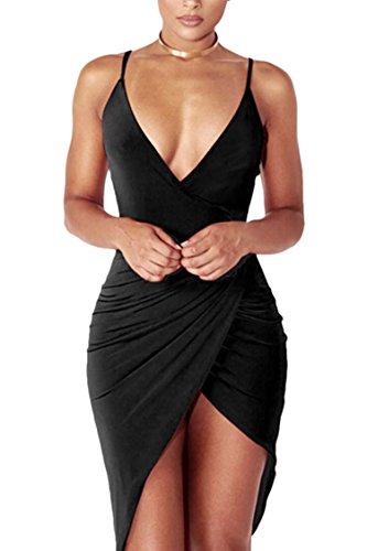 PinkQueen Women's Spaghetti Strap Tunic V Neck Sexy Clubwear Dresses Black XL