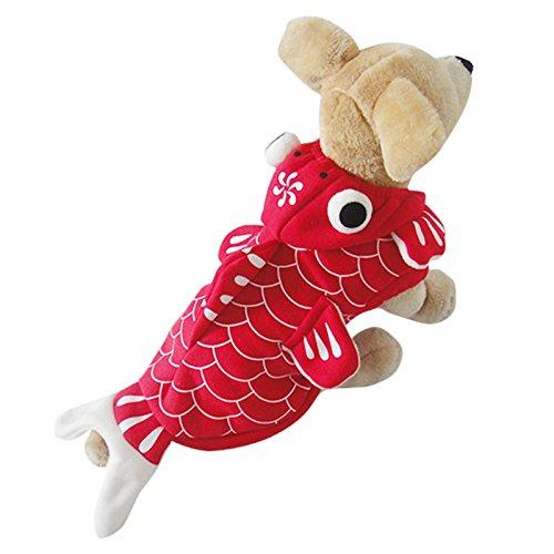 Speedy Pet Dog Clothes Cat Apparel Adorable Costume 3D Fish Hoodie GoldFish Design Fleece Single Layer Size L