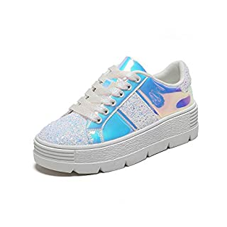 MACKIN J 334-1 Women's Lace Up Platform Sneakers Glitter Patchwork Causal Sneakers (10, Silver)