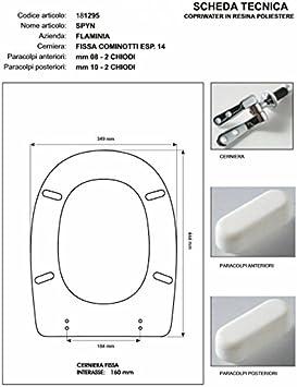 ACB//COLBAM Copriwater in Legno Rivestito di Poliestere per Flaminia SPIN BIANCO Cerniera Cromo-Sedile-Asse Wc