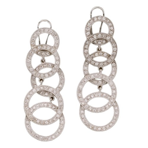 """CleverEve Designer Series One Pair of Sterling Silver Rose Gold Plated Pave CZ Multi Circle Earrings 2.5"""""""