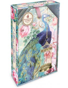 PUNCH STUDIO BIRDCAGE PEACOCK - BOXED SCENTED SACHETS 並 行 輸 入 品