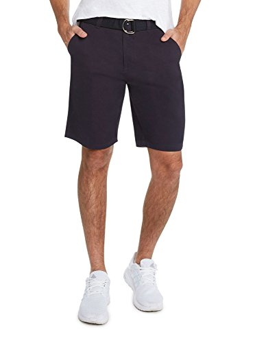9 Crowns Men's Flat Front Modern fit Twill Chino Belted Shorts Essentials-Navy-34 ()