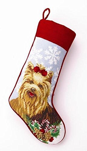 Yorkshire Terrier Yorkie Dog Needlepoint Christmas Stocking by PHI
