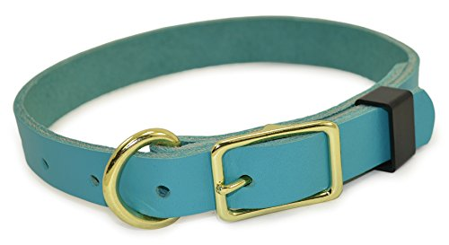 J&J Dog Supplies JJ316-TEA Leather Dog Collar, Teal, Adjustable from 12-16 Inches, Small