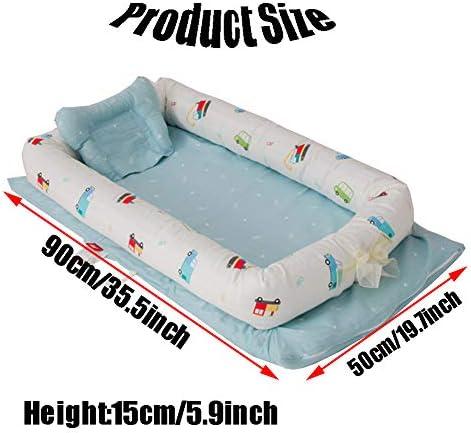 HOUSHIYU-521 Baby Lounger Bébé Nid, 100% Coton Biologique Nouveau Née Berceau Bébé Portable Berceau Bébé, Respirant Et Hypoallergénique, pour Chambre Et Voyage,E