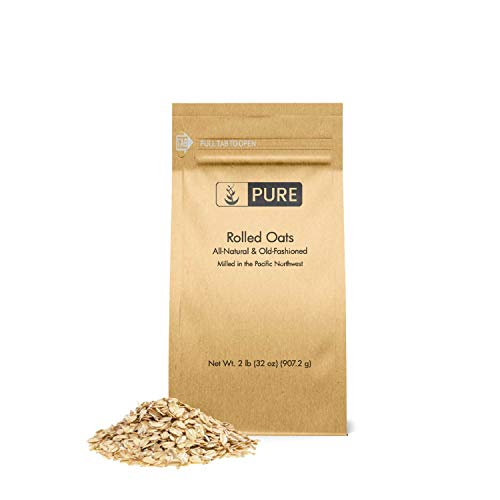 Rolled or Old-Fashioned Oats (2 lbs.) by Pure Organic Ingredients, Resealable Packaging, For Everything From Breakfast to Face Masks And More! (Also in 7 lb)