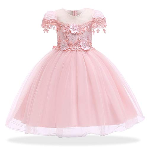 Girls Dress Elegant Princess Party Dress Kids Dresses for Girls Children Wedding Dress,Pink1,5